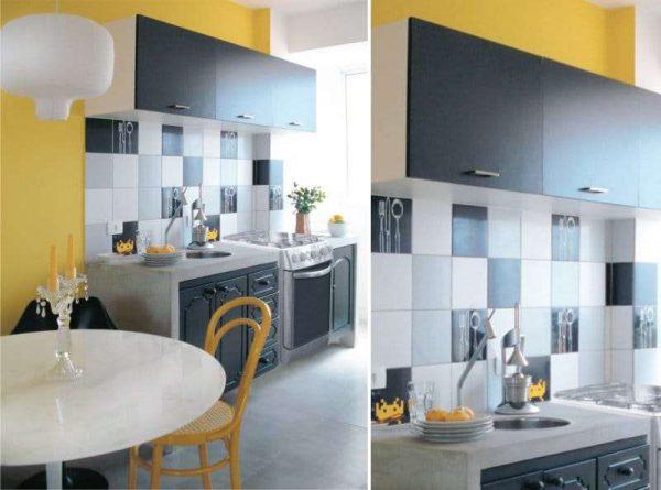 жёлтые стены с чёрным гарнитуром на кухне