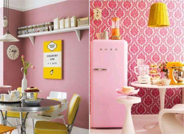 жёлтый с розовым и красным на кухне