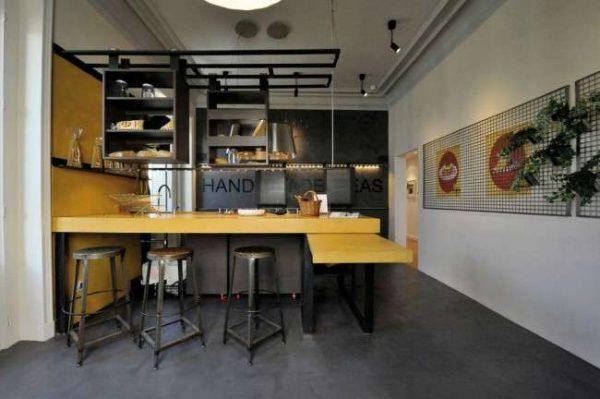 жёлтая столешница в интерьере кухни