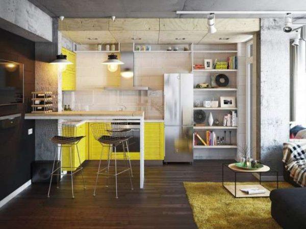 жёлтый гарнитур на кухне