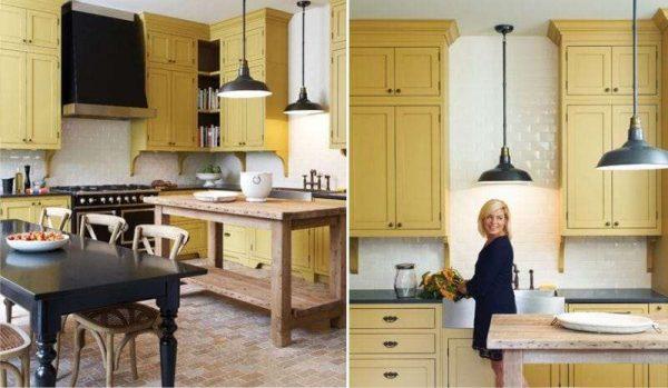 жёлтый на кухне в классическом стиле