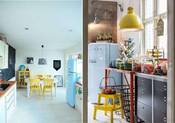 жёлтый с голубым на кухне