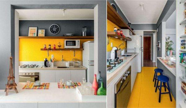 жёлтый фартук и полы на кухне