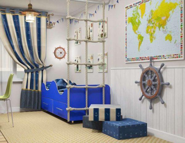 интерьер комнаты мальчика в морском стиле