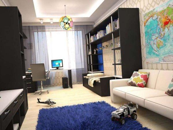 интерьер комнаты мальчика с гипсокартонным потолком
