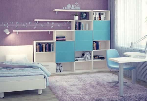 интерьер комнаты мальчика со шкафами