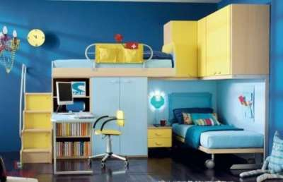 интерьер комнаты мальчика со шкафом купе