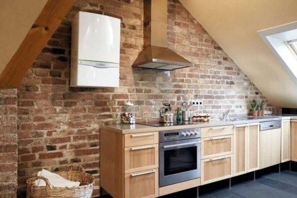 газовой котёл на кухне в стиле лофт