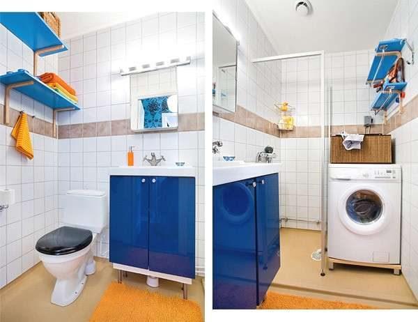 размещение полок в интерьере маленькой ванной комнаты