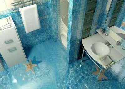 полы 3Д в ванной