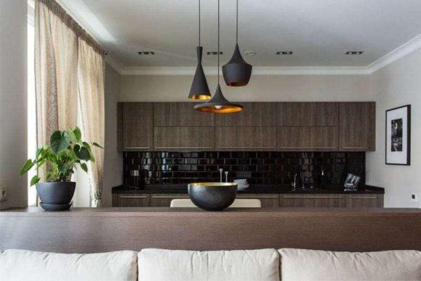 стильные светильники над рабочей зоной кухни столовой
