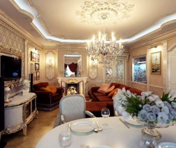 классический интерьер кухни столовой гостиной