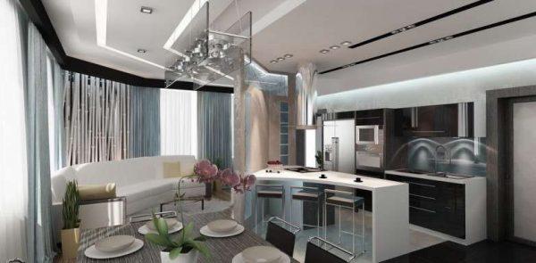 интерьер кухни совмещённой со столовой и гостиной
