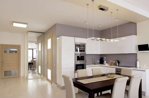интерьер кухни столовой гостиной в минималистическом стиле