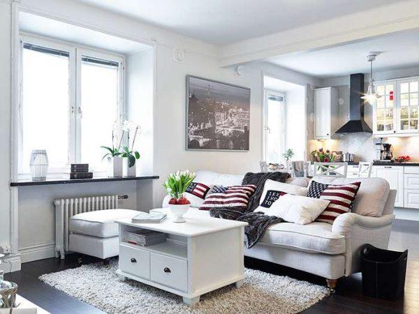 интерьер кухни столовой гостиной в скандинавском стиле