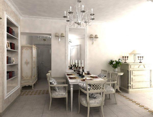мебель на кухне столовой гостиной в стиле прованс
