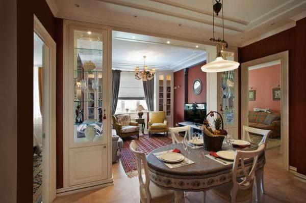 интерьер кухни столовой гостиной в классическом стиле
