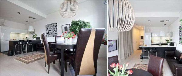 стильный светильник в интерьере кухни столовой гостиной