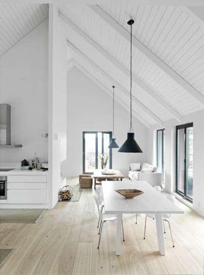 белый интерьер кухни столовой гостиной в чердачном помещении