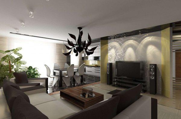 современный дизайн столовой гостиной с кухней