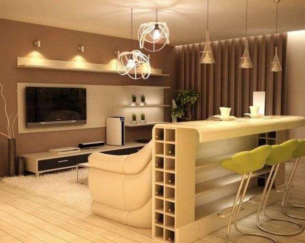 барная стойка в интерьере кухни столовой гостиной