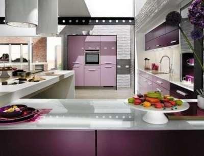 сиреневый цвет в интерьере кухни в стиле хай тек