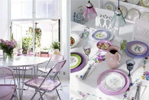сиреневый цвет в декоре на кухне