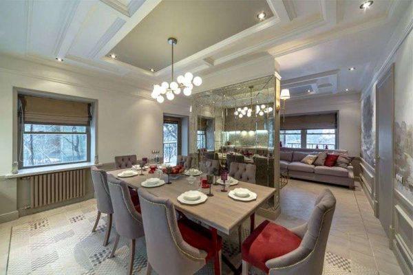 декоративная перегородка на кухне гостиной со столовой
