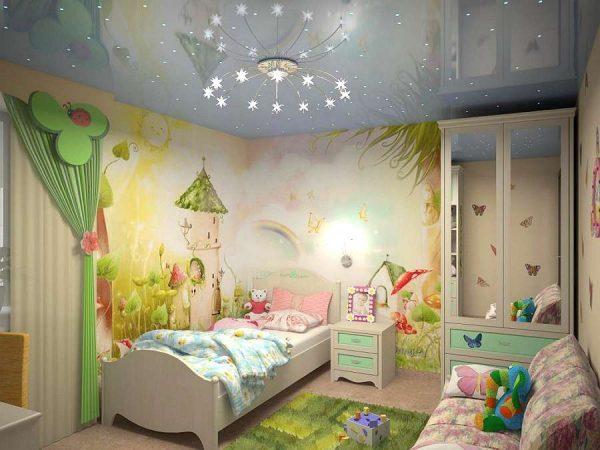 зелёные обои для детской комнаты девочке