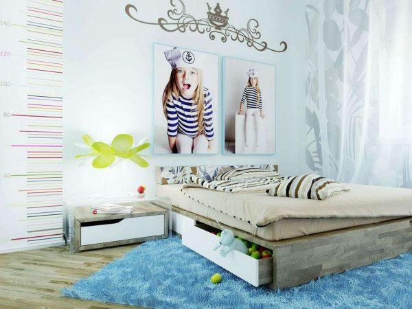 голубые обои в детской комнате девочки