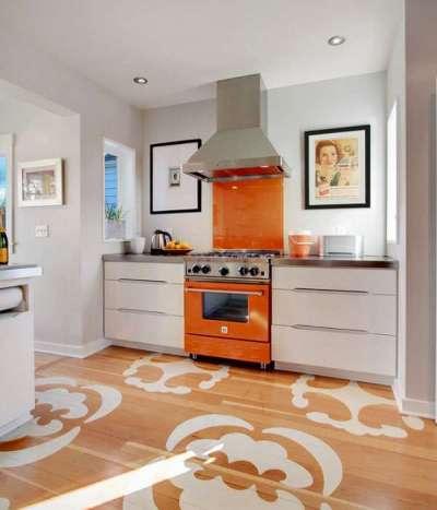 оранжевые акценты на кухне