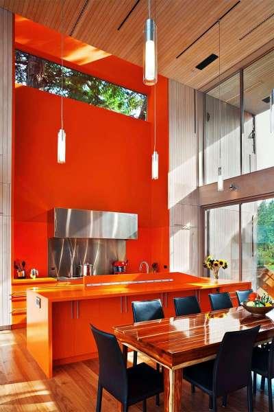 оранжевый в стиле хай тек на кухне