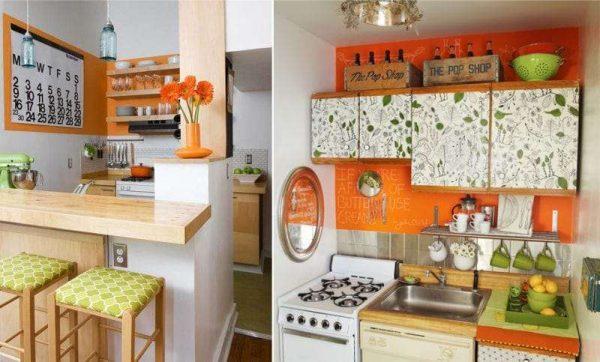 оранжевый фон на стене в интерьере кухни