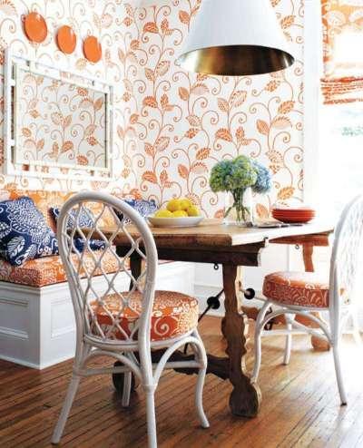 оранжевые обои на стенах в интерьере кухни