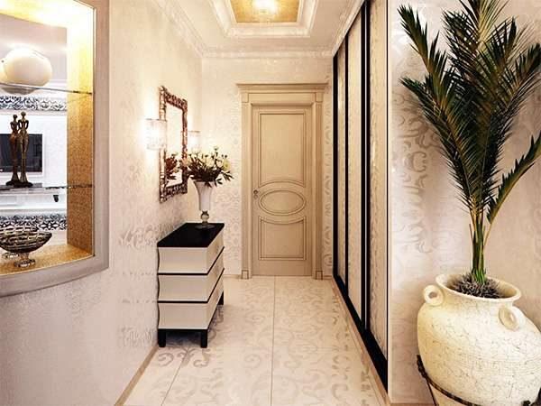 интерьер прихожей в частном доме с виниловыми обоями
