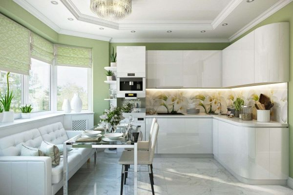 зелёные римские шторы в интерьере кухни