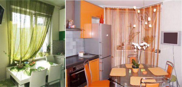 полупрозрачные шторы на кухне