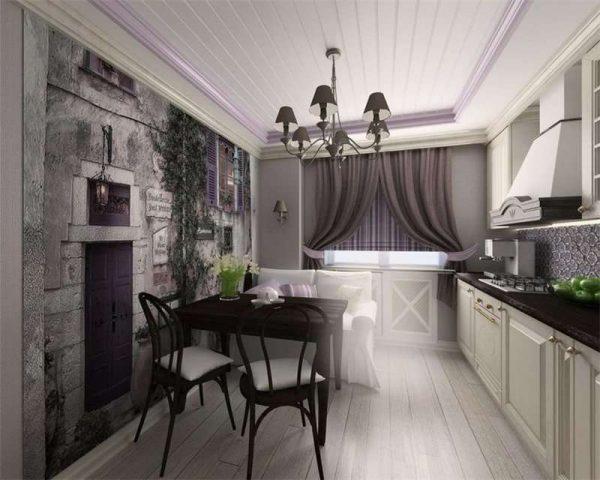 шторы классические в интерьере кухни