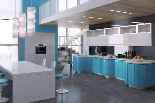 голубой интерьер кухни, собранной своими рукмаи