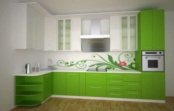угловая бело-зелёная кухня своими руками