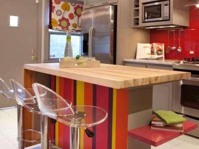 красная кухня из дерева своими руками