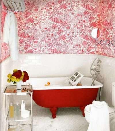 обои в дизайне ванной в хрущёвке