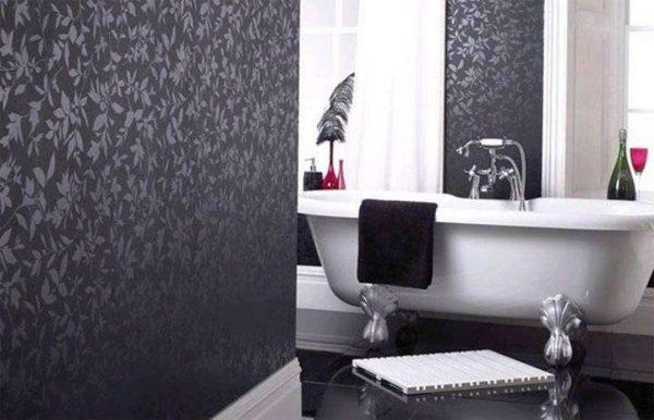 виниловые обои в интерьере ванной комнаты
