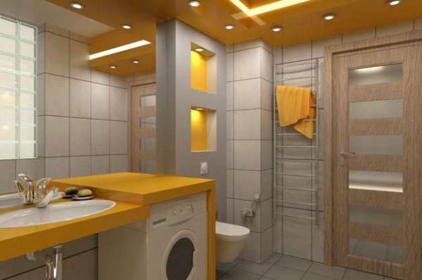 двери со вставками в интерьере ванной