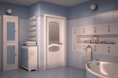 двери со вставками в интерьере ванной комнаты