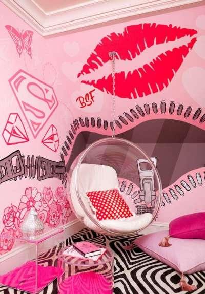 интерьер розовой комнаты девочки