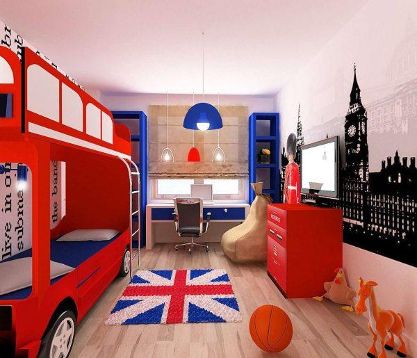 английский стиль в комнате мальчика