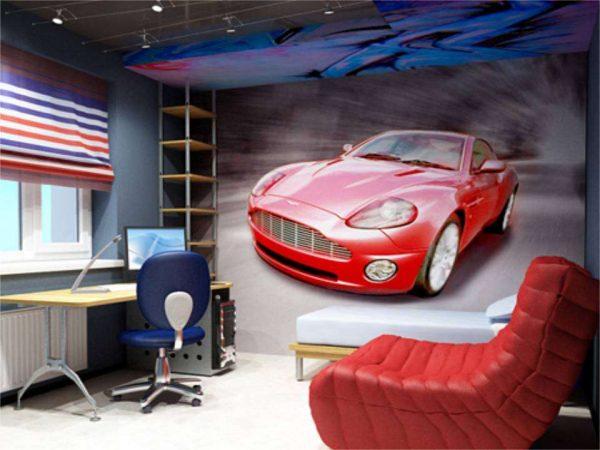 автомобильный стиль в интерьере комнаты мальчика