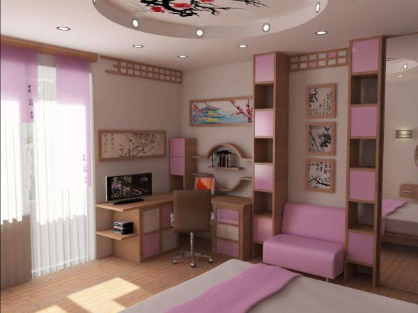 учебный стол в комнате девочки