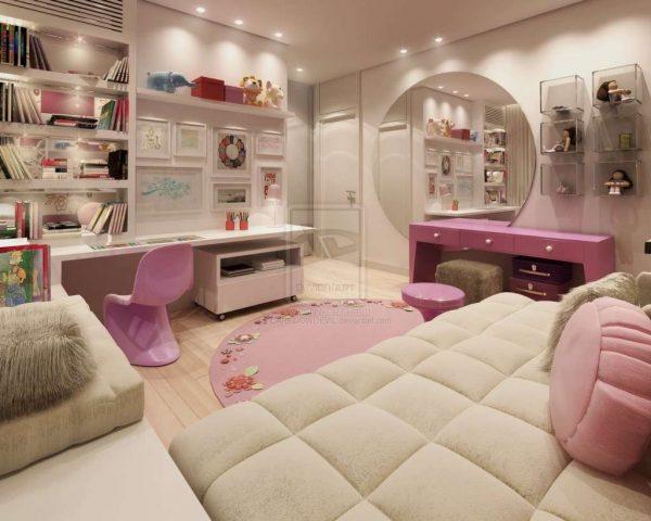 зеркало в интерьере комнаты девочки
